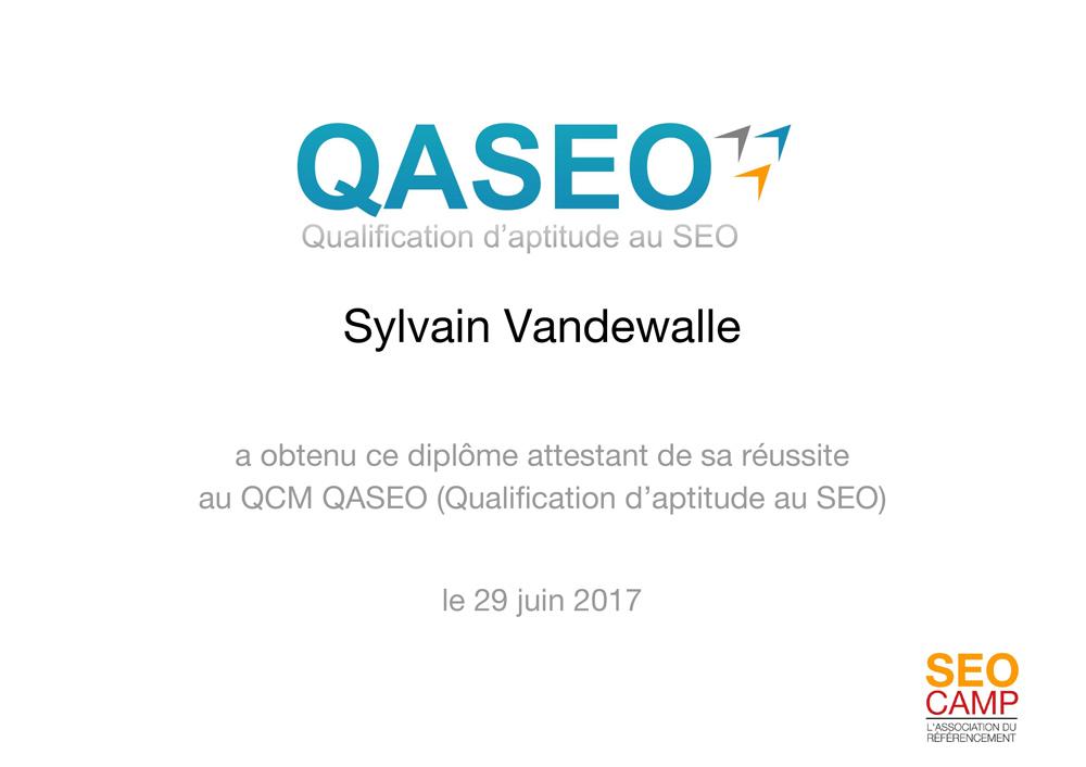 QASEO : Diplome Sylvain Vandewalle